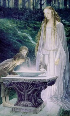 Alan Lee's Lord of the Rings Artwork / Frodo and Sam look into the Mirror of Galadriel.