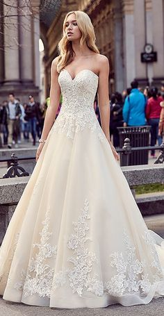 Modest Tulle & Satin Sweetheart Neckline A-Line Wedding Dresses With Lace Appliques