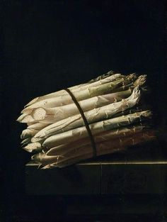"Adriaen Coorte. ""Still Life with Asparagus,"" 1699. Oil on paper, mounted on panel.  Rijksmuseum, Amsterdam, The Netherlands."
