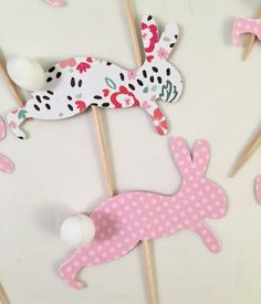 Polka Dot and Floral Hopping Bunny Cupcake Toppers by OccasionalGoods on Etsy