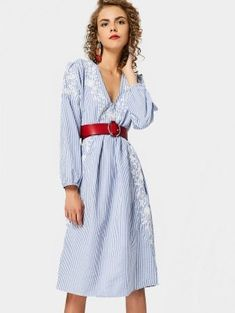 Long Sleeve Embroidered Stripes Shift Dress - Stripe S