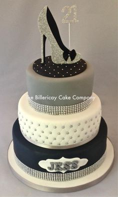 "Cake with added ""bling"" - Cake by The Billericay Cake Company 50th Birthday Cake Designs, 50th Birthday Cake For Women, 3 Tier Birthday Cake, Birthday Cake For Husband, 40th Cake, 21st Birthday Cakes, Fondant, Fashionista Cake, Bling Cakes"