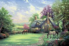 A Perfect Summer Day by Thomas Kinkade... hanging above my fireplace. This was a gift from my family when we bought our house. Thomas Kinkade Art, Thomas Kincaid, Kinkade Paintings, Art Thomas, Modern Canvas Art, Cottage Art, Cozy Cottage, Photo D Art, Famous Artists