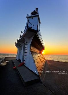 North Breakwater Pier Lighthouse in Ludington Michigan by margo
