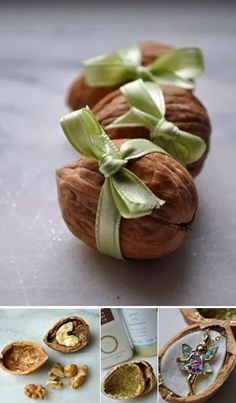 Idea muy creativa de introducir pendientes, colgantes dentro de frutos secos y ponerles un lazo de regalo. David Menéndez.Gift wrapping ideas - maybe when I retire I will have time for this... LOL