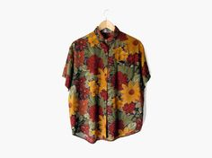 Sunflower Rose Button Down, Vintage c. 1990s || nineties / black / green / red / maroon / mustard yellow / dark floral / short sleeve / button up / slouch top / collared shirt / hipster clothing / grunge style / 90s fashion
