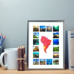 A3 Travel Photo Collage with Custom Map by AlovelytimeStore