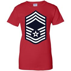 Air Force Chief Master Sergeant Rank Ladies Custom 100% Cotton T-Shirt