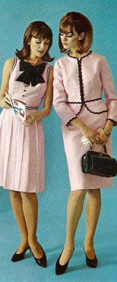 1960s •~• pink & black fashion, 1963