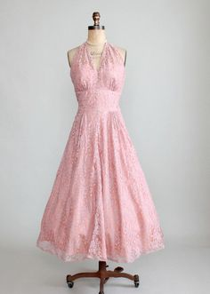1940s Pink Lace Halter Party Dress