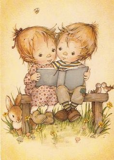 LÁMINAS ANTIGUAS -- Children reading...