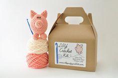 $28  DIY Crochet Kit  Mini Pig by ThePudgyRabbit on Etsy