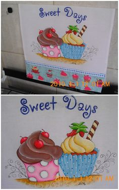 Não ligue para data, esta errada, foi feito em 2015 Arte Country, Country Crafts, Tole Painting, Fabric Painting, Cop Cake, Paper Cupcake, Sweetest Day, Baby Prints, Painting Patterns