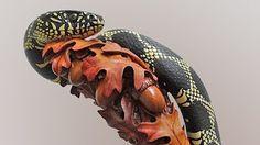 The Making of Wood Carved Rattlesnake Walking Cane #43 - YouTube