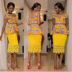Beautiful Ankara Style Top and Lace Styles .Beautiful Ankara Style Top and Lace Styles African American Fashion, African Inspired Fashion, African Print Fashion, Africa Fashion, Men's Fashion, Fashion Rings, Fashion Clothes, Latest Fashion, Fashion Ideas