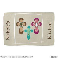 Three wooden crosses custom kitchen towel