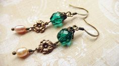 Emerald glass brass and pearl dangle earrings No by VerdigrisGifts, $21.00