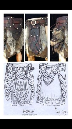Leather armour Barberian battle skirt/belt with metalwork & fur design larp armour