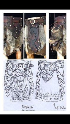 Leather armour Barberian battle skirt/belt with metalwork & fur design larp armour
