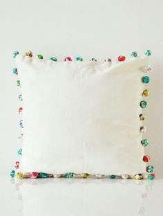 Pom Pom White Accent Cushion Cover - 16in x 16in