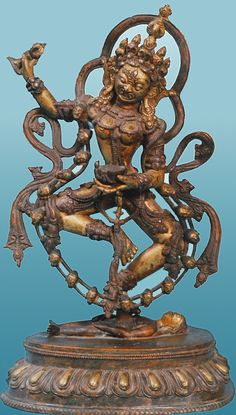 Mahakala, a Dharmapala - a fierce protector in both Tantric and Vajrayana Buddhism. (In Hindusim he is a associated with Shiva). Bronze, ca. 17th C. A.D.  Nepal