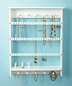 New Wall Mount Jewelry Storage Organizer Rack Black or White Earrings Holder | eBay