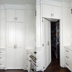 This secret pantry door in kitchen is so fun! Paneling the door helped create a seamless look in the space! Hidden Pantry, Built In Pantry, Hidden Kitchen, Space Kitchen, Kitchen Tips, Kitchen Pantry Cabinets, Kitchen Cabinet Doors, Kitchen Storage, Tall Cabinet Storage