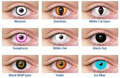 Non Prescription Colored Contact Lenses - Black Out, White Out, Wolf Eye and Banshee - LUV