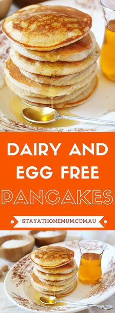 "Dairy and Egg Free Pancakes taste exactly the same as dairy and egg pan. - Vegan -""These Dairy and Egg Free Pancakes taste exactly the same as dairy and egg pan. Dairy Free Egg Free Pancakes, Egg Free Cakes, No Egg Pancakes, Dairy Free Eggs, Keto Pancakes, Breakfast Pancakes, Breakfast Casserole, Egg Free Recipes, No Dairy Recipes"