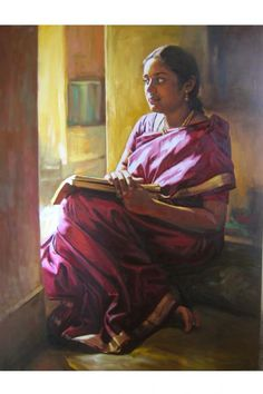 my wife - © 2008 S.Elayaraja - people portrait Painting Online Artworks