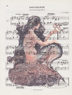 By the seaside...Mermaid vintage sheet music print £6.50.A perfect unique gift! #uk #music #vintage
