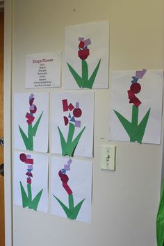 A shape lesson-making Irises - PreK activity on circles, rectangles, triangles, squares. Works with fine motor control, shape identification, and following directions