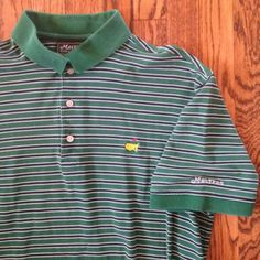 Sold --> The Masters Augusta National Green Striped Polo Golf Shirt - Mens L