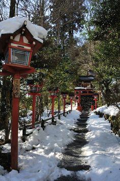 Snow in Kibune Shrine, Kyoto, Japan