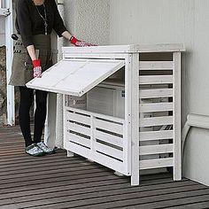 木製エアコンカバー フラップルーバー室外機カバー パラソル|ガーデンガーデン【ポンパレモール】