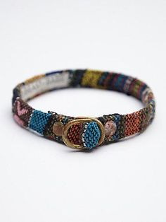 Midnight Taco Collar | Made in Los Angeles, this upcycled tribal printed dog collar features acid wash solid brass hardware.     *By Beast + Babe
