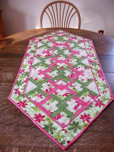 Quilted Table Runner in Lover Knot Pattern in by WarmandCozyQuilts, $45.00