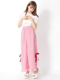 Ank Rouge 裾リボン編上げギンガムチェックパンツ(レッド)