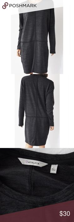"""ATHLETA Heathered Gray Drop Waist Dress ATHLETA Heathered Gray Drop Waist Dress  Size: L Pre-owned, excellent condition.  Pretty, soft, pullover dress by ATHLETA. It features a drop waist, and long sleeves. The color is Heathered Gray.  96% polyester & 4% spandex, machine wash and dry.  Approximate Measurements taken flat and across, Underarm to underarm: 22"""", Length measured from shoulder down: 35.5  No Trades Athleta Dresses Long Sleeve"""