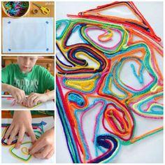 Peinture avec du fils de laine. 16 Activités rigolotes pour enfants avec des fils de laine