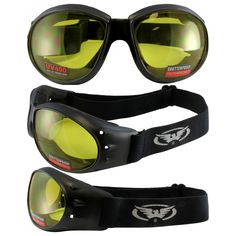 7c2b06f234 Global Vision Eliminator Motorcycle Goggles (Black Frame Yellow Lens) Shatterproof  anti-fog polycarbonate scratch resistant UV 400 lenses Soft airy foam ...