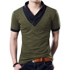 Mens Short Sleeve T- Shirts YTD 100% Cotton Mens Casual V-neck Button Slim Muscle Tops Tee