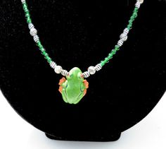 Amazon Tree Frog Beaded Necklace  With 1960's by TridentsTreasure, $32.00