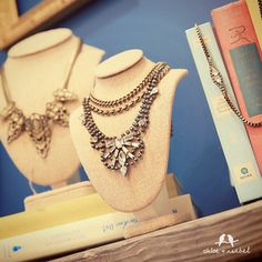 Shop Day 8 https://www.chloeandisabel.com/boutique/thebeautifulpages  Petite Pear Crystal Collar Necklace (N122CL) was $38, now $22  Rhinestone + Bold Chain Drama Necklace (N153HE) was $118, now $70  Deco Cascade Statement Collar Necklace (N207B) was $128, now $76