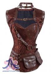 Corset marron à motif steampunk avec ras de cou, boléro et poches ceinture