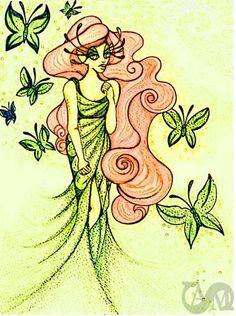 Emerald Butterfly Enchantress 8X10 Limited Edition Fairy Fantasy Art Print. $30.00, via Etsy.