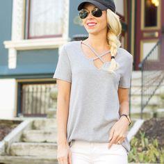 Grey Rib Cross Front Short Sleeve Top – CS Gems