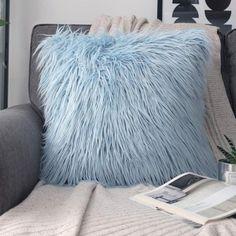 Phantoscope Merino Style Faux Fur Series Decorative Throw Pillow, 22 x Light Blue, 1 Pack Light Blue Throw Pillows, Blue Throws, Blue Pillows, Decorative Throw Pillows, Soft Pillows, Blue Room Decor, Blue Bedroom, Dream Bedroom, Bedroom Swing