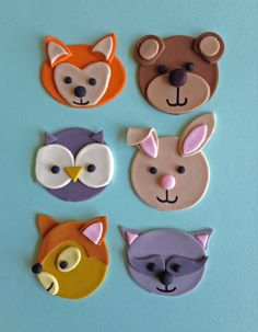 Fondant Woodland Animals Cupcake Toppers by Clementinescupcakes