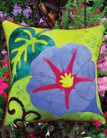 "Glorious Morning Glory Wool Applique Throw Pillow 15.5"" Square kits & patterns from Wooly Lady"